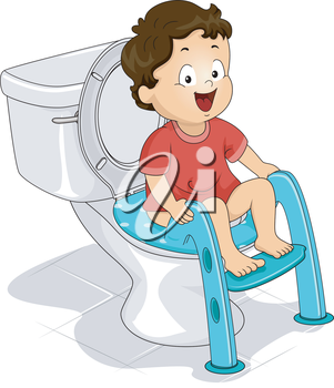 Illustration of a Little Boy Sitting on a Potty Seat