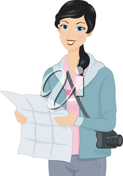 Illustration of a Female Tourist Checking Her Map