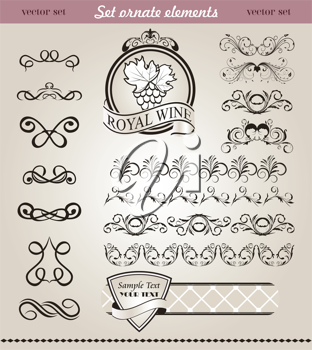 Illustration set floral ornate design elements (4) - vector