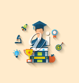 Illustration flat icons of magister and objects for high school and college, education icons, long shadow style design - vector