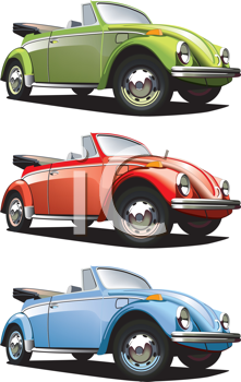 Royalty Free Clipart Image of a Set of Volkswagons