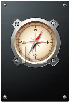 Royalty Free Clipart Image of a Detailed Compass on a Metal Plate