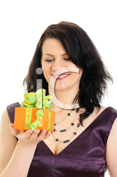 Royalty Free Photo of a Woman Opening a Present