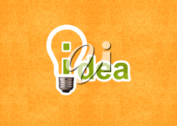 Royalty Free Photo of an Orange Background With the Word Idea, and Lightbulb Circling the Letter I