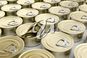 One defective tin can in multiple rows of tin cans