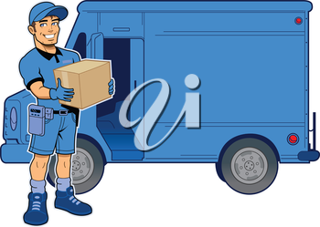 Royalty Free Clipart Image of a Deliveryman By a Van