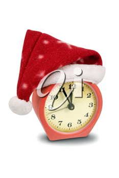 Royalty Free Photo of a Santa Hat on a Clock