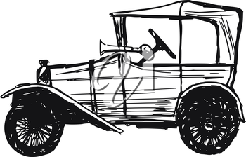 hand drawn, sketch, cartoon illustration of retro car