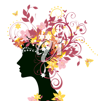 Royalty Free Clipart Image of a Decorative Female Silhouette
