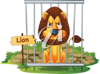 Royalty Free Clipart Image of a Lion in a Cage