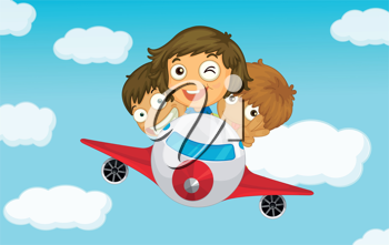 Illlustration of kids on a plane