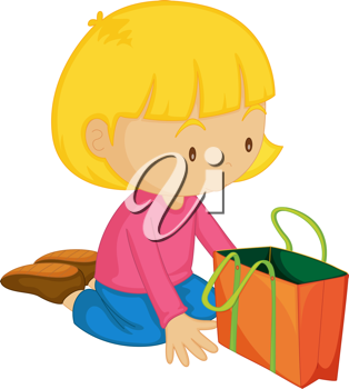 Illustration of a Girl with Bag on white background