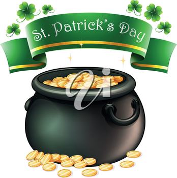 Illustration of a pot of coins with a banner on a white background