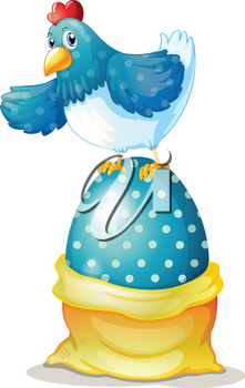 Illustration of a hen above a big easter egg on a white background