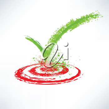 Royalty Free Clipart Image of a Checkmark on a Target
