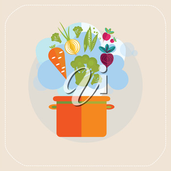 Healthy  pan and vegetables icon