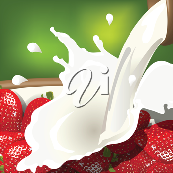 Royalty Free Clipart Image of a Bowl of Milk and Strawberries