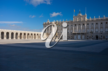 Beautiful view of famous Royal Palace in Madrid, Spain