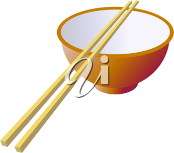 Royalty Free Clipart Image of a Bowl and Chopsticks