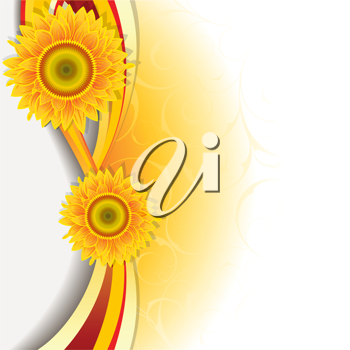 Royalty Free Clipart Image of a Wave of Coloured Ribbons and Sunflowers