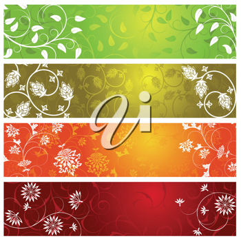 Royalty Free Clipart Image of Four Summer Banners