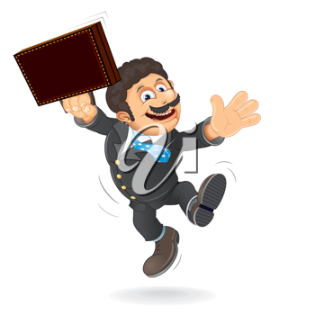 Happy Lawyer Jump. Vector Cartoon Illustration