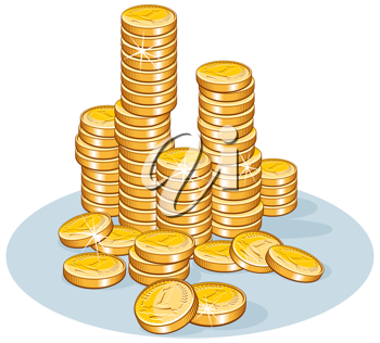 Pile of golden coins