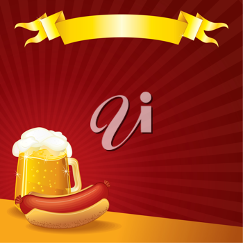 Tavern Template, Sausage and Mug of Beer, vector illustration with copyspace