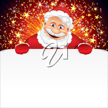 Santa Claus Greeting Card. Santa holding blank sign against the background of holiday fireworks. Vector illustration ready for your text or design.