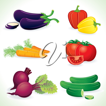 Ripe Vegetables, set of detailed vector illustrations, icons