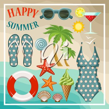 Summer beach set. Vector illustration