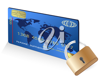 Royalty Free Clipart Image of a Credit Card and Lock