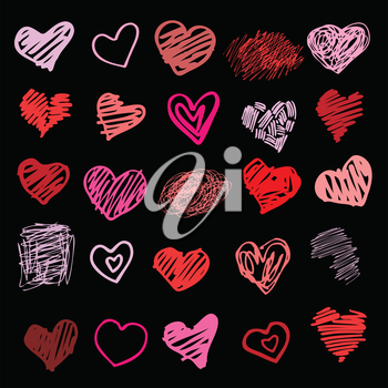 Heart. Set of design elements.  Vector illustration