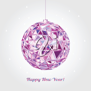 Christmas and New Year greeting card. Vector illustration. Geometric background. 3D Wallpaper.