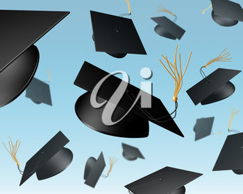 Royalty Free Clipart Image of Graduation Hats Thrown in the Air