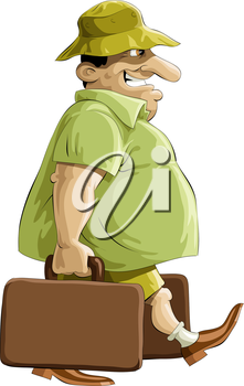 Man with suitcases on holiday vector illustration
