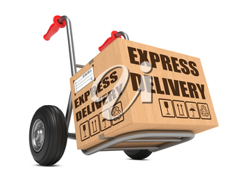 Cardboard Box with Express Delivery Slogan on Hand Truck White Background.