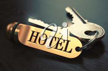 Hotel - Bunch of Keys with Text on Golden Keychain. Black Wooden Background. Closeup View with Selective Focus. 3D Illustration. Toned Image.
