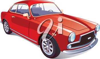 The vector image of the great rare retro vehicle painted in a red color on a white background.Editable vector EPS v.10.