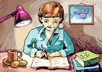 The boy is writing something in his textbook.Editable vector EPS v9.0