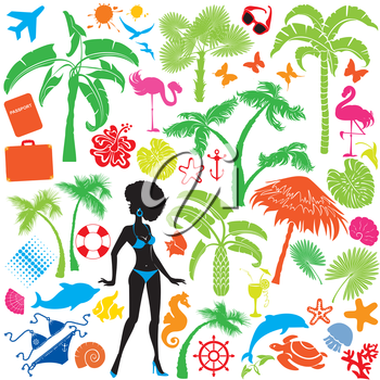 Set of summer, travel and vacations symbols - silhouettes of woman in bikini, tropical palms trees, butterflies, marine life, etc.