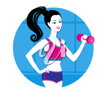 Girl working out with a dumbbell.