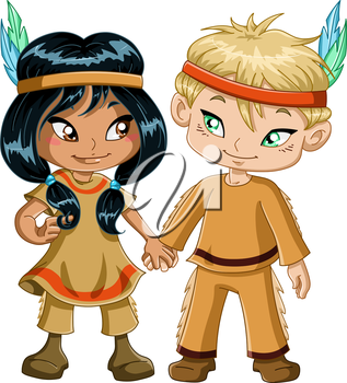 Royalty Free Clipart Image of Two Children Dressed as Natives