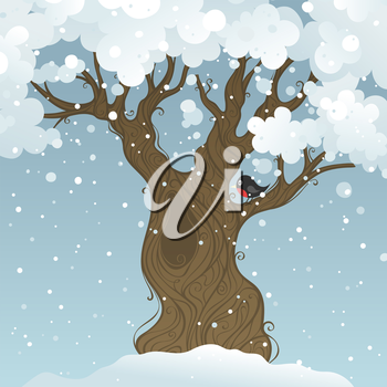 Winter landscape. Vector illustration. There is place for your text.