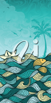 Sea, palm, summer, fish, paper ship, gulls. Summer vertical background for your design. There is blank place for your text in the sky.