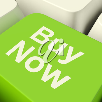 Buy Now Computer Key In Green Showing Purchase And Online Shopping