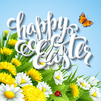 Easter greeting with eggs and flowers. Vector illustration